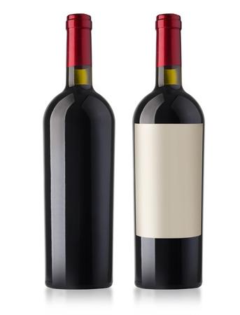 白い背景の上のワインのボトル分離プロセス