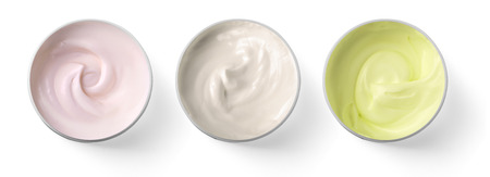 close up of  beauty cream or yogurt on white background Stock Photo