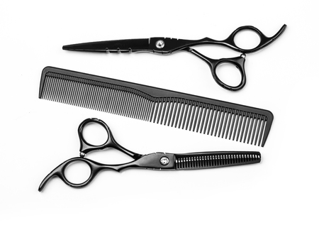 scissors comb: Hairdresser Accessories, Comb, Scissors  isolated on white