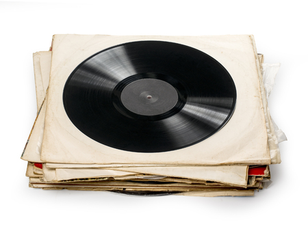 shaddow: Used vinyl records with shaddow on white background Stock Photo