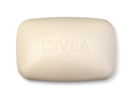 ag: Chisinau, moldova August 30, 2016. Nivea Creme Soft bar soap, gently cleanses and cares for the skin . Nivea is a skin and body care brand owned by the German company Beiersdorf AG. Editorial