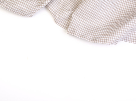 country kitchen: tablecloth on white background,crumpled fabric background Stock Photo