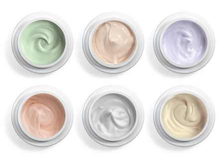 glass containers: close up of  beauty cream or yogurt on white background Stock Photo