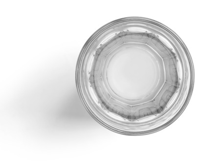 Top view of water glass cup on white background with clipping path