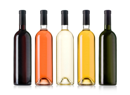 Set of white, rose, and red wine bottles.isolated on white background Banque d'images