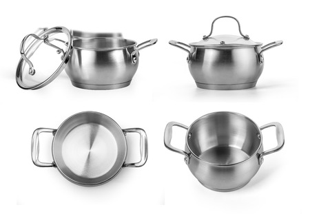 stainless steel background: Stainless steel cooking pot isolated over white background Stock Photo