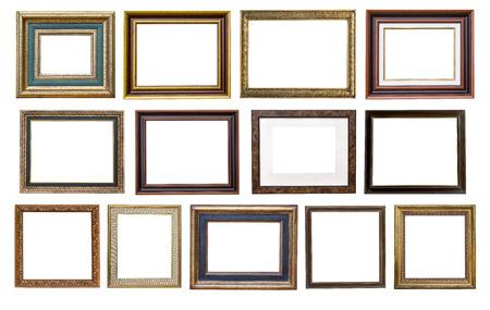 Set di telaio in legno vintage isolato su sfondo bianco
