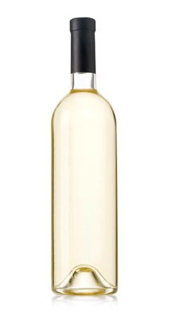 reflective: bottle of white wine on isolated reflective white background with clipping path