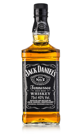 botle: CHISINAU, MOLDOVA- August 26, 2016 : botle of Jack Daniels. Jack Daniels is a brand of sour mash Tennessee whiskey . With clipping path