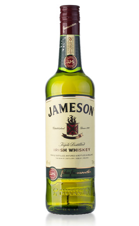 distillers: Chisinau, Moldova - August 26, 2016: Jameson whiskey isolated on white background. Jameson is blended Irish whiskey produced by the Irish Distillers subsidiary of Pernod Ricard since 1780. Editorial