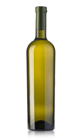 Dark green glass bottle with white wine isolated on a white background.with clipping path