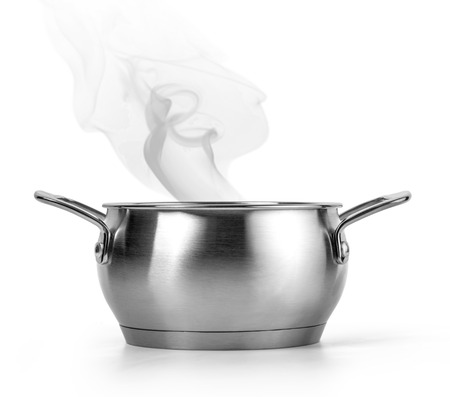 Boiling water in a pan over white background with clipping path