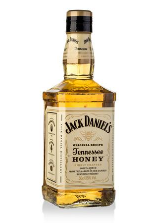 Chisinau, Moldova - September 21, 2016:: Bottle luxury of Tennessee whiskey Jack Daniels Honey