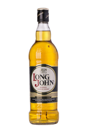 distillers: Chisinau, Moldova January 26, 2016:Whiskey bottle on white background Long John is a blended Scotch whisky carefully produced in the Scottish Highlands. Editorial