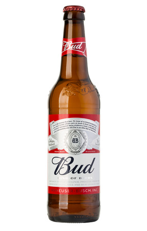 Chisinau, Moldova - January, 26, 2016: Bottle of Budweiser Beer on a white background Editorial