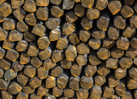 Background texture of steel rods used in construction to reinforce concrete Stock Photo