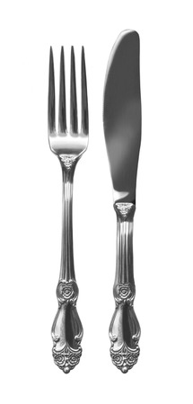 cutlery: Cutlery set with Fork, Knife  isolated on white background
