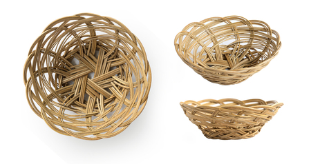 empty basket: Set of empty weave wicker basket isolated on white background