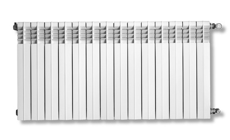 optimal: Heating radiator with thermostat isolated on white, with clipping path