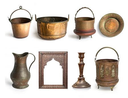 utensils: antique copper utensils isolated on white background Stock Photo