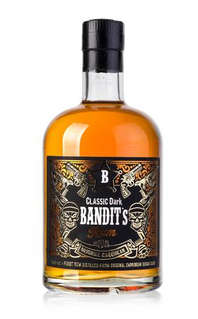 bandits: Chisinau, Moldova - September 19, 2016: Bottle of rum on white, Classic Dark Bandits is a brand of rum