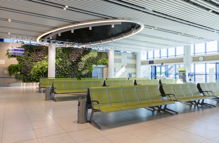 superficie: Chisinau, Moldova - September 27, 2016: Waiting area in airport terminal Airport is a major international airport in Chisinau, Moldova