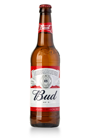 budweiser: Chisinau, Moldova January 26, 2016: A single bottle of Budweiser on white. From Anheuser-Busch InBev, Budweiser is one of the top selling domestic beers in the United States.