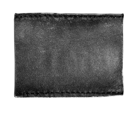Blank leather background with stitches, isolated.with clipping path