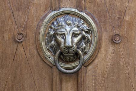 puertas de madera: manija de la puerta vieja bajo la forma de un fondo de metal león Foto de archivo