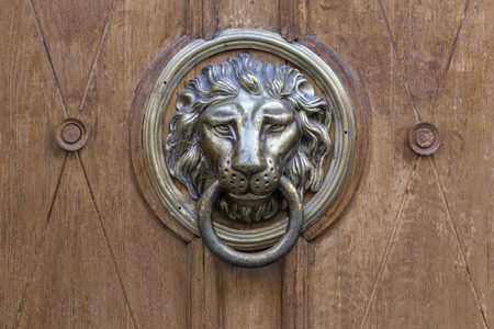 rarity: Old door handle in the form of a metal lion background