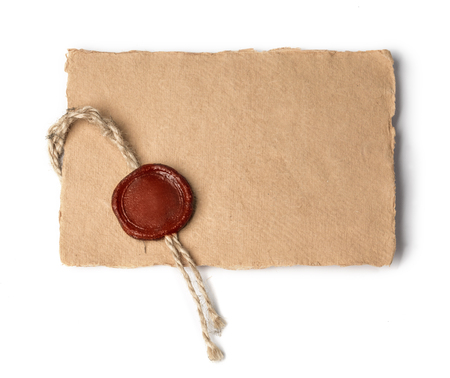 sealing wax: old letter isolated on white background Stock Photo