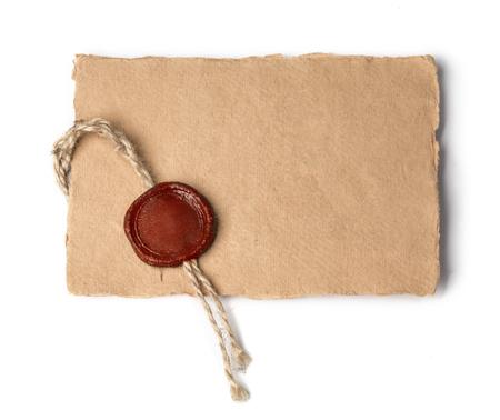 Vecchia lettera isolata su sfondo bianco Archivio Fotografico