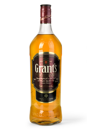 Chisinau, Moldova November 10, 2016: Grants blended cask editions whiskey isolated on white background. Grants has been produced by William Grant and sons in Scotland since 1887 Editorial