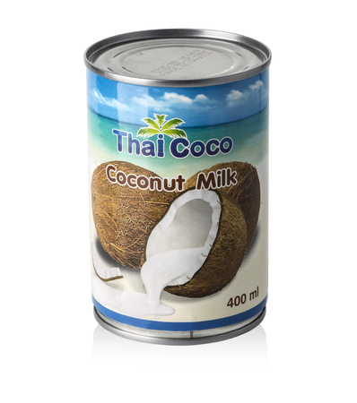 diluted: Chisinau, Moldova November 16, 2016:  Thai Coco Coconut Milk isolated on white  For traditional Thai food and dessert or diluted for light coconut milk.