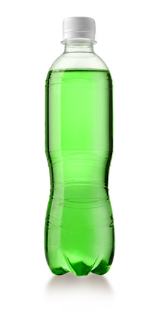 plastic bottle with a drink isolated on white with clipping path