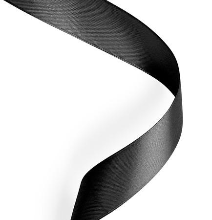 ruban noir: Black ribbon on white background.
