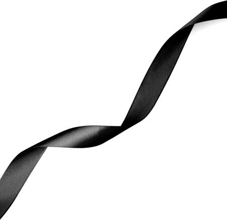 ruban noir: Ruban noir sur fond blanc. Banque d'images