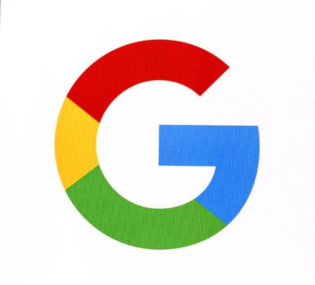 Chisinau, Moldova November 16, 2016: Google logo on pc screen. Google it is the largest Internet search engine, owned of Google Inc.