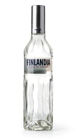 Chisinau, Moldova November 16, 2016: Finlandia Vodka isolated on white . Alcohol by volume 40.0%. Country of origin Finland.