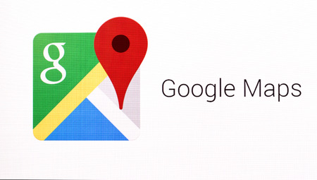 Chisinau, Moldova November 16, 2016: Google Maps logo sign on pc sign. Google Maps a set of applications map service and technology provided by the company Google. 新聞圖片