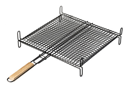 barbecue grill: Stainless barbecue grill camping basket isolated on white