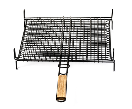 steel grid for grill isolated on white background. Stock Photo