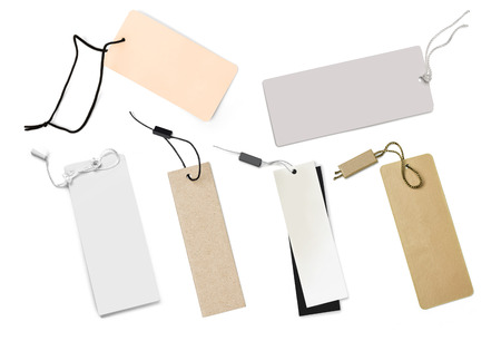 blank tag: Blank tag tied with string. Price tag, gift tag, sale tag, address label. Stock Photo
