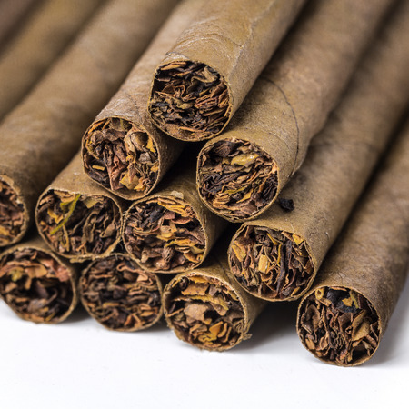 the small cigarillos photographed by a close up Stock Photo