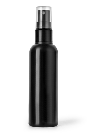 Black plastic bottle spray for hair on a white background.
