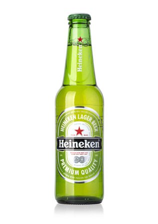 Chisinau, Moldova December 25, 2015:  Bottle of Heineken Lager Beer on white background.