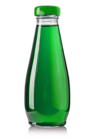 quench: Green Energy Drink Soda on white background Stock Photo