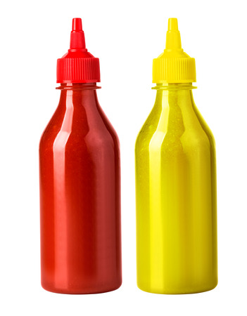 ketchup and mustard bottle isolated on a white background