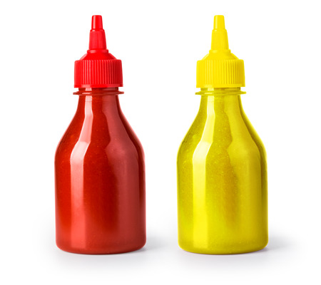 ketchup and mustard bottle isolated on a white background with clipping path