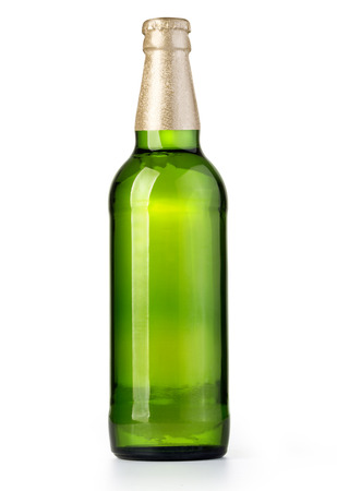 dew cap: beer in a green bottle isolated on a white background with clipping path
